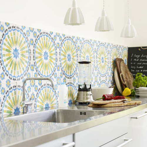 Colorful backsplash tiles