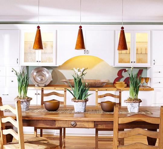 Уютная кухня столовая интерьер
